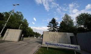 The entrance of the Bundesnachrichtendienst (BND) in Pullach, Germany.