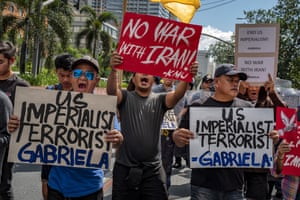 Manila, Philippines: people protest outside the US embassy