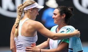 Ons Jabeur embraces Caroline Wozniacki