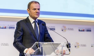 Donald Tusk speaking during an event at Business Europe in Brussels this morning.