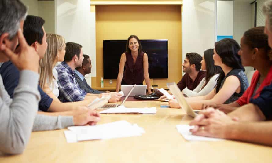 Female board member addressing staff
