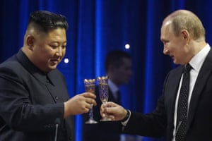 Vladivostok, Russia North Korean Leader Kim Jong-un and Russia's President Vladimir Putin