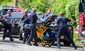 Anissa and Morgan's victim, 12-year-old Payton 'Bella' Leutner being stretchered to an ambulance in Waukesha.