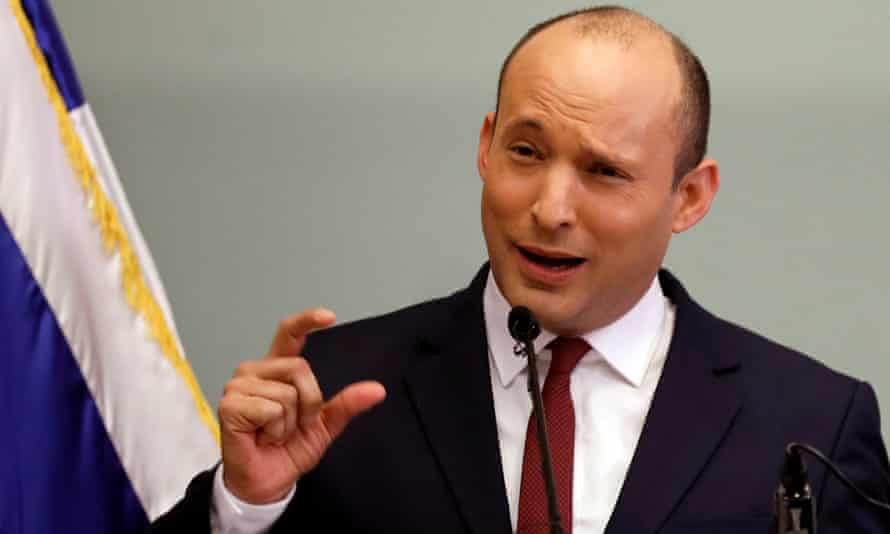 Israel's education minister, Naftali Bennett, gestures as he delivers a statement to reporters, at the Knesset in Jerusalem
