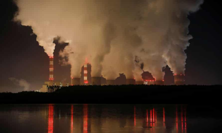 Smoke and steam billows from Bełchatów, Poland – Europe's largest coal-fired power plant