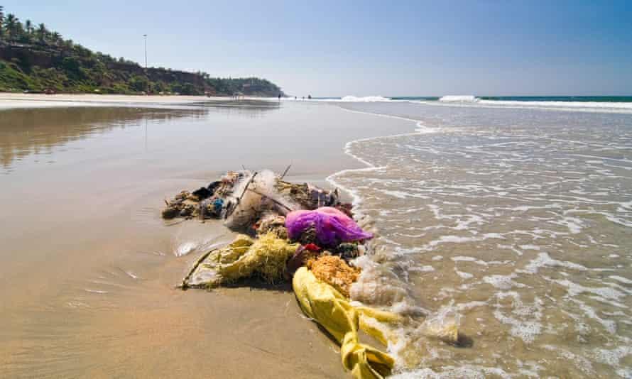 Rubbish washed up on a beach at Varkala, Kerala