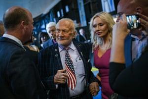 Huntsville, US Former NASA astronaut Buzz Aldrin and Anca Faur attend an Apollo 11 anniversary celebration dinner