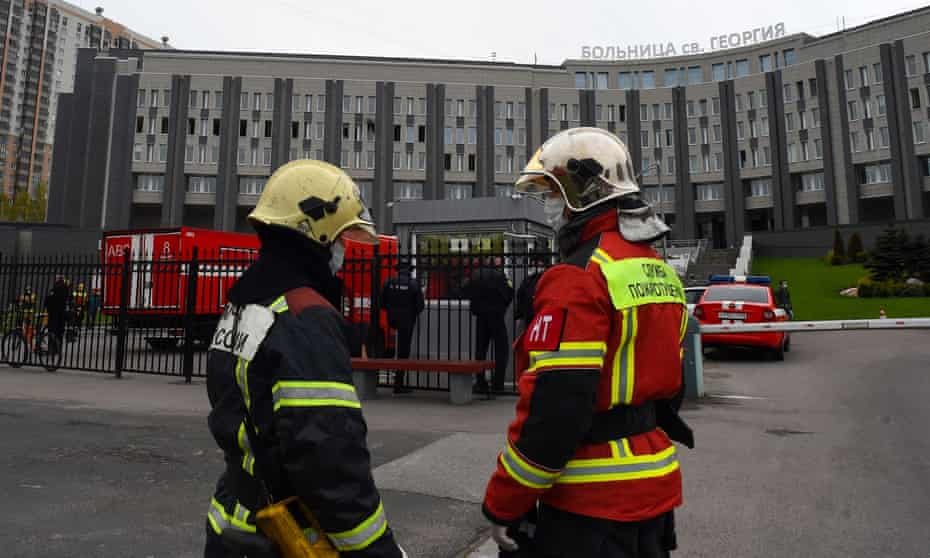Firefighters at St George hospital in St Petersburg.