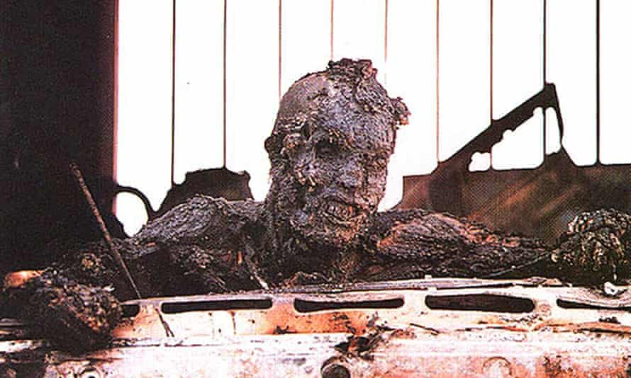 The charred head of an Iraqi soldier