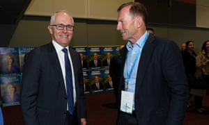 Malcolm Turnbull and Tony Abbott at a Liberal party convention last year.
