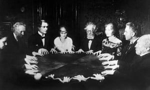 A seance scene from the 1922 film Dr. Mabuse the Gambler. Michael Faraday and Harry Houdini were among the prominent sceptics of spiritualism.