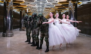 Soldiers and ballerinas pose for pictures by the Russian defence ministry to mark International Women's Day.