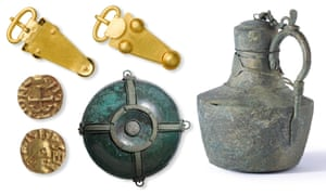 Objects found (clockwise from top left) include a gold belt buckle, a copper alloy flagon from the Mediterranean, a decorative hanging bowl, and gold coins.