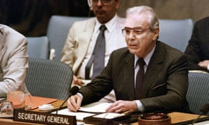 Javier Pérez de Cuéllar announces a ceasefire in the Iran-Iraq war at the UN in 1988. It was his greatest triumph as an understated UN chief.