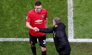 Nemanja Matic shakes the hand of Ole Gunnar Solskjær after being sent off at the Etihad.