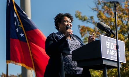 Stacey Abrams campaigning in Georgia last week.