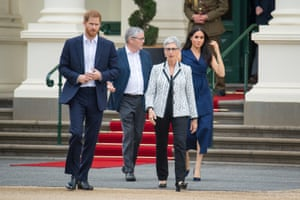 Royal tour of AustraliaBritain's Prince Harry and his wife Meghan, Duchess of Sussex walk with Governor of Victoria Linda Dessau and her husband Anthony Howard at a reception given by the Governor of Victoria, at Government House during their visit to Melbourne, Australia, October 18, 2018. Dominic Lipinski/Pool via REUTERS