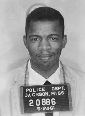 An arrest photo from 1961, when Lewis served 37 days in Parchman Penitentiary in Mississippi for 'disorderly conduct' - using a restroom labelled white.