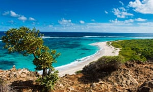 View over the turquoise waters of Barbuda.