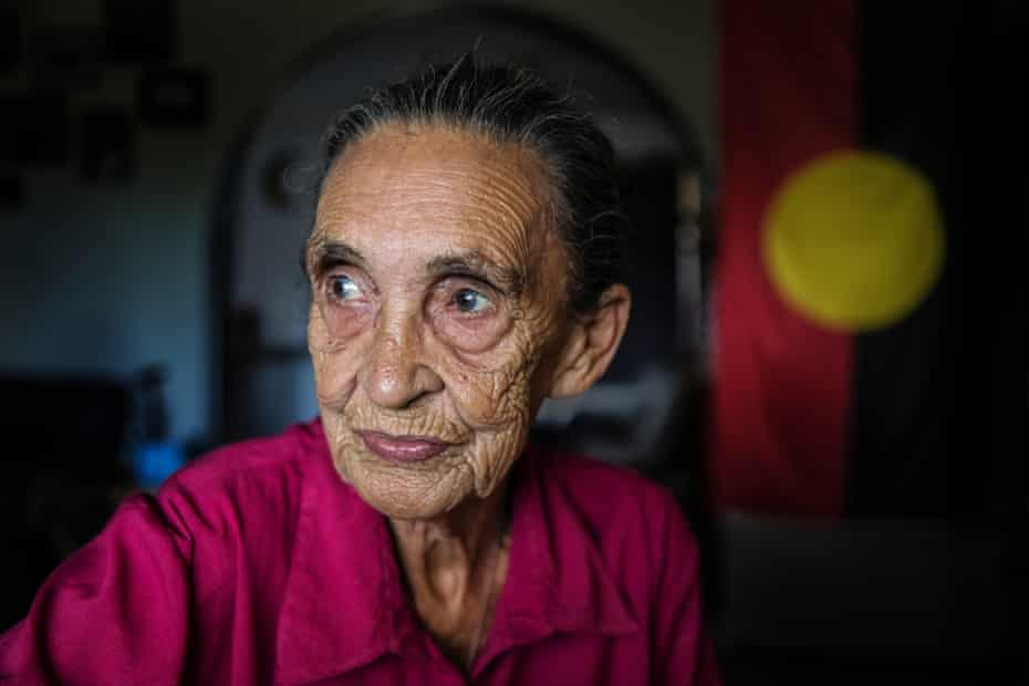 Gomeroi elder Mary Swan sits in her home in South Moree