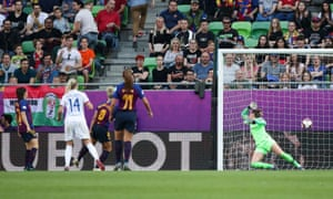 Olympique Lyonnais' Ada Hegerberg scores their third goal.