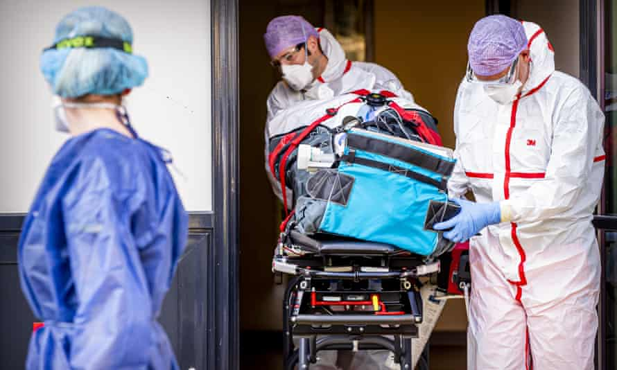 Medics in Amsterdam equipped with protective clothing last year