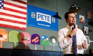 Pete Buttigieg speaks in Hampton, New Hampshire, on 4 February.