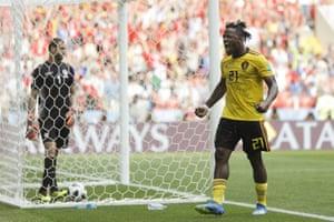 Belgium's Michy Batshuayi celebrates after scoring his side's fifth goal