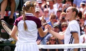 Martina Hingis, right, congratulates Jelena Dokic on the Australian's victory in 1999.
