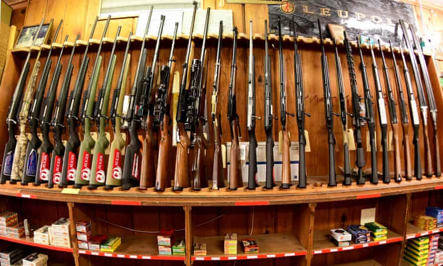 Rifles are on display at the Clark Brothers gun store in Warrenton, Virginia.