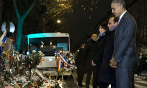 President Obama and Francois Hollande pay their respects to the victims of the Paris attacks