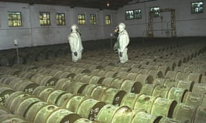 Russian soldiers make check metal containers with toxic agents at a chemical weapons storage site in the Saratov region in 2000.