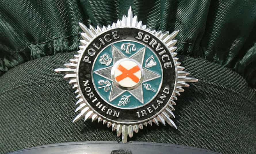 Northern Ireland police badge in close-up
