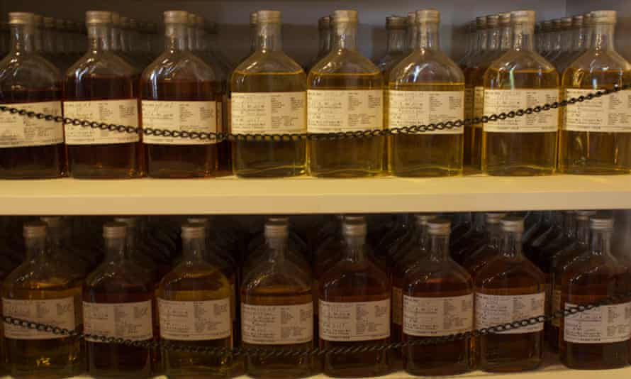 Whisky samples line the shelves at Venture Whisky's distillery in Chichibu, Japan