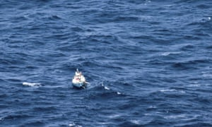 A photo supplied by Australian maritime authorities of Tomy's yacht, Thuriya, adrift in the ocean.