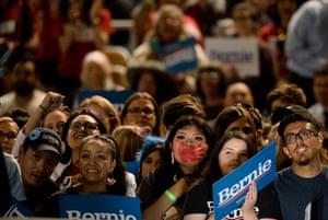 Sanders rallygoers in Phoenix on Thursday night.