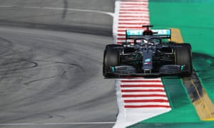 Lewis Hamilton guides his Mercedes round the track during day three of winter testing in Barcelona