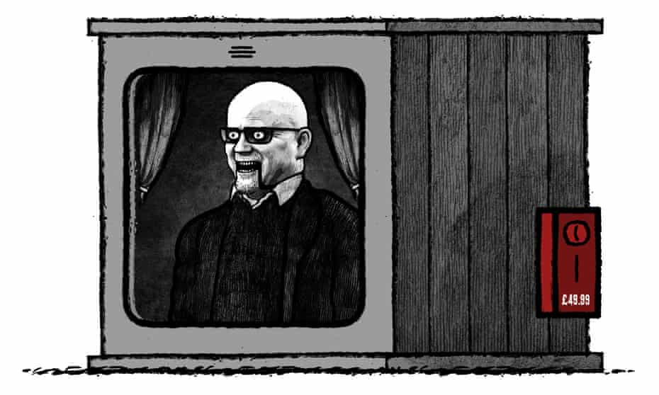 Toby Young fortune teller puppet illustration for the Observer New Review by David Foldvari