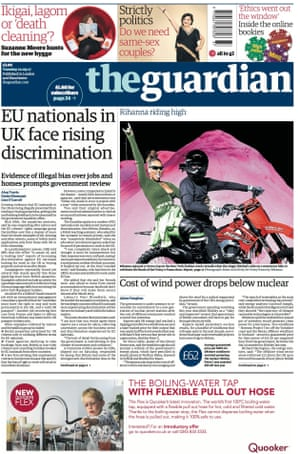 Guardian front page, Tuesday 12 September 2017