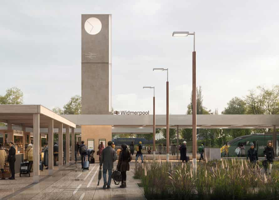 A render of 7N Architects winning plan for Britain's smaller railway stations