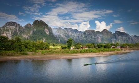 Boat on Nam Song River at Vang Vieng village in Laos