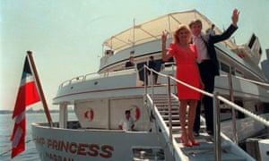 Donald and Ivana Trump on their luxury yacht in 1988
