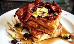 The brioche toast, bacon, maple syrup and avocado at Pistachio and Pickle, N1.
