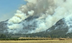 A bushfire in the hills around the Hunter Valley in October