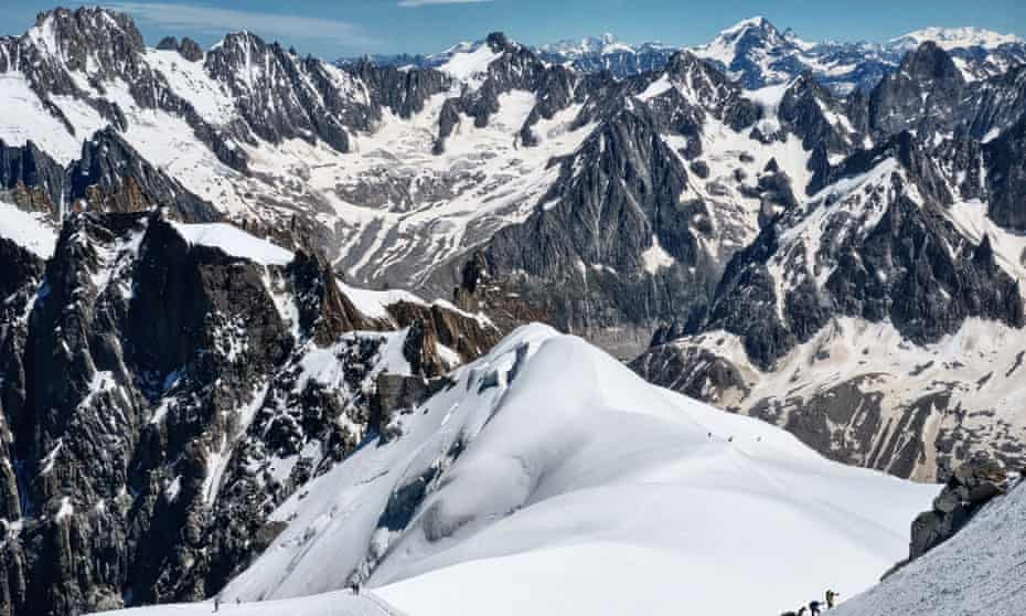 Ice climbers on Mont Blanc at the French-Italian border.