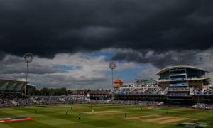 Dark skies above Trent Bridge as Australia ease to victory over Bangladesh.