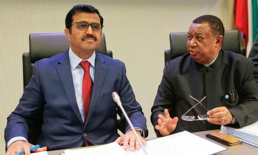 Qatar's energy minister Mohammed bin Saleh al-Sada and Opec secretary general Mohammad Barkindo address a news conference after the Opec meeting in Vienna.
