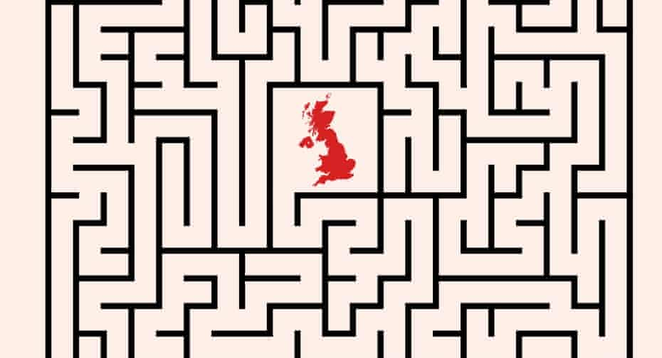 illustration of the UK at the centre of a maze