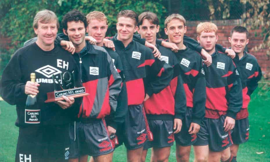 Youth team coach Eric Harrison with prodigies Ryan Giggs, Nick Butt, David Beckham, Gary Neville, Phil Neville, Paul Scholes and Terry Cooke.