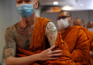 Bangkok, Thailand. Buddhist monks receive their AstraZeneca Covid-19 vaccines at a temple, during a national inoculation program for monks